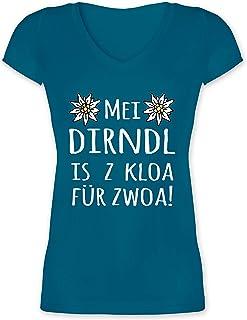 Shirtracer Oktoberfest & Wiesn Damen - MEI Dirndl is z kloa für zwoa! weiß - Damen T-Shirt mit V-Ausschnitt