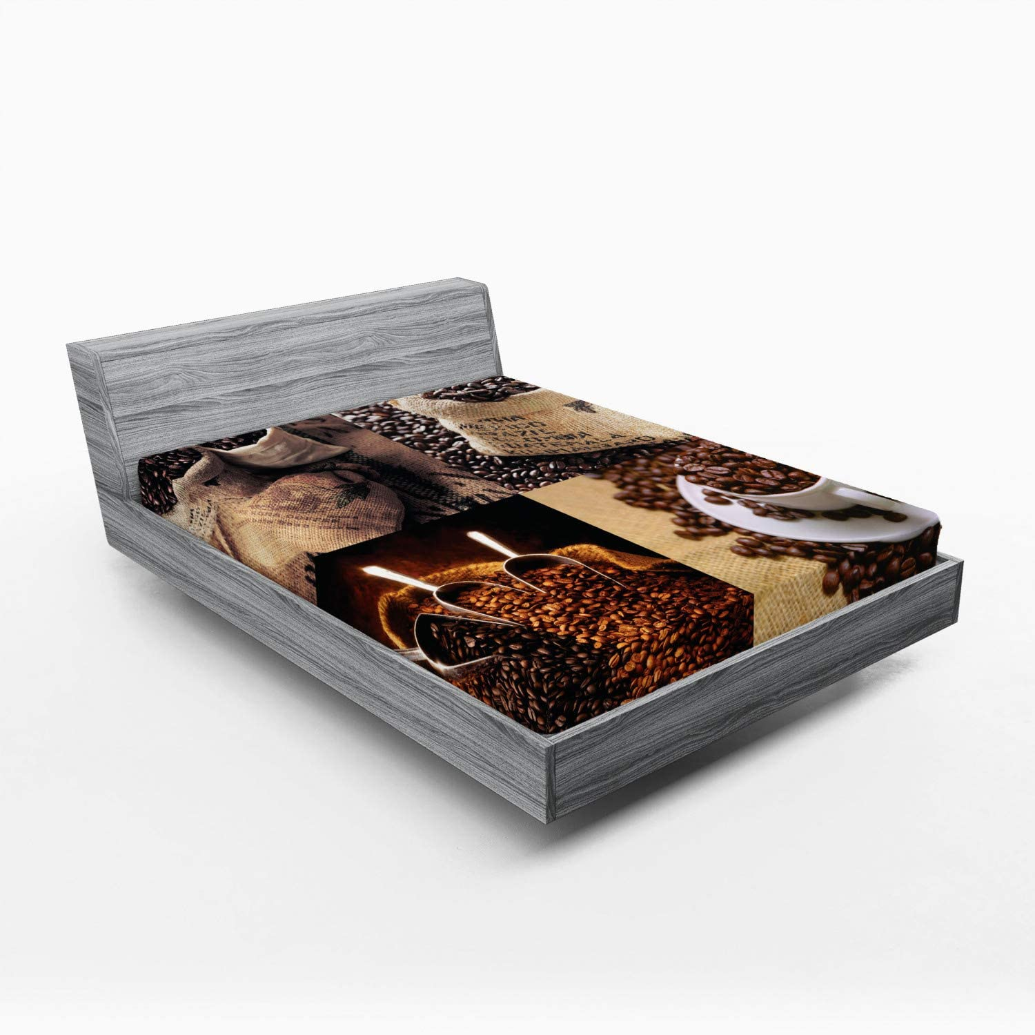 Ambesonne Coffee Fitted Sheet Special sale Sale item item Rustic Showing Collage of Images