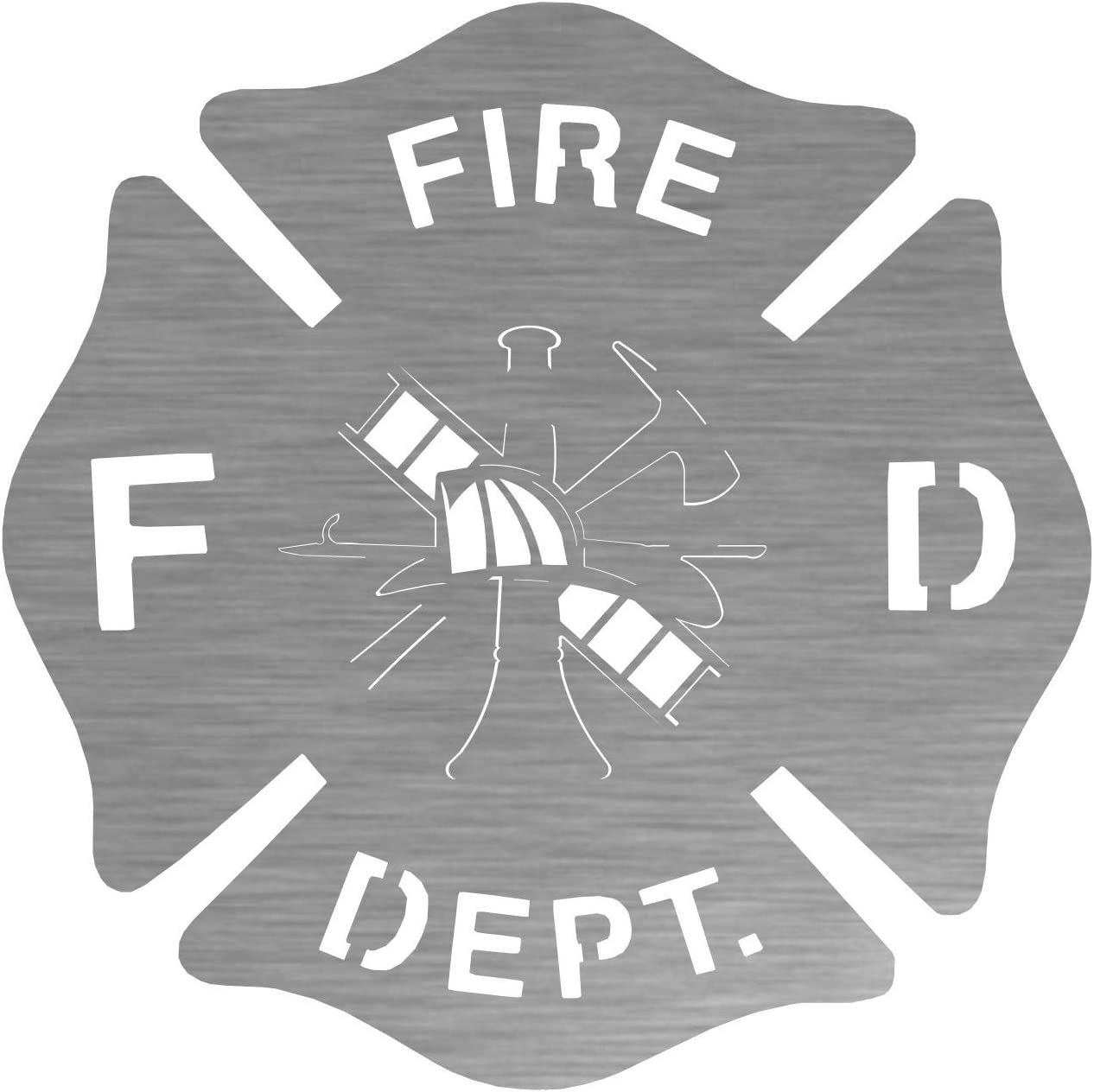 Firefighter Badge Steel shipfree Laser San Francisco Mall Cut Wall Art Natural Shiny with a
