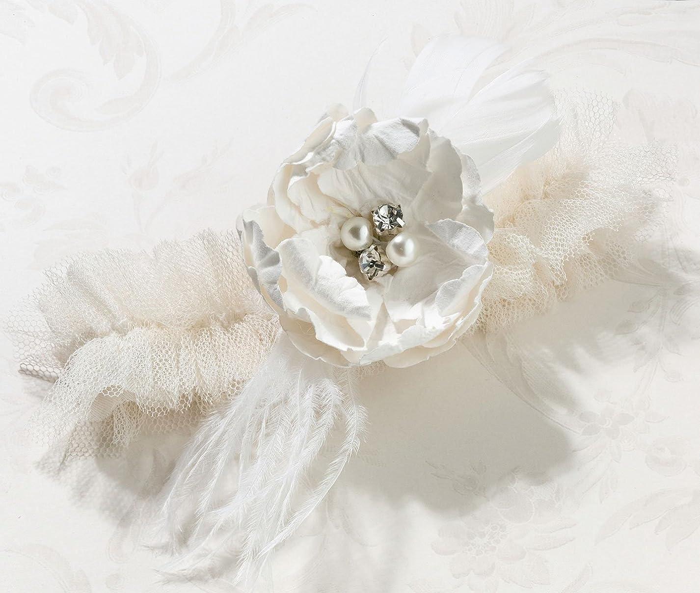 Lillian Rose Vintage Cream Tulle Flower Prom Wedding Garter kto141241878482