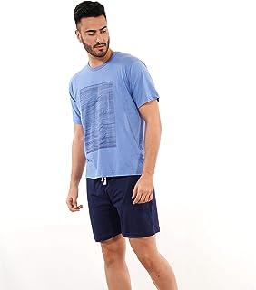 ? - Pijama de Hombre de Verano – Pijama de Hombre 100% algodón Color Azul - Pijama de Verano de Manga Corta y pantalón Corto – Color Azul – Moda Homewear