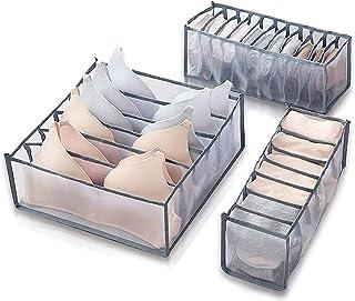 منظم الملابس الداخلية بالخزانة، 3 مجموعات قابلة للطي من مساحة تخزين بصندوق تخزين الملابس الداخلية للنساء، منظم درج الملابس...