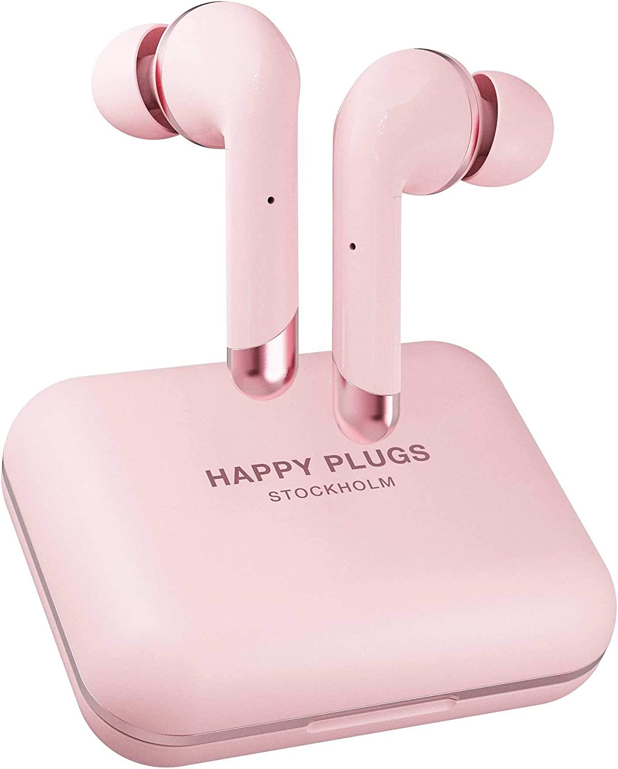 Happy Plugs Air 1 Plus High-end in-Ear Headphones   True Wireless Bluetooth Earbuds with Charging Case and Microphones   Up to 40 Hours Playtime   iOS/Android/Zoom/Pc/Mac Compatible, Pink Gold
