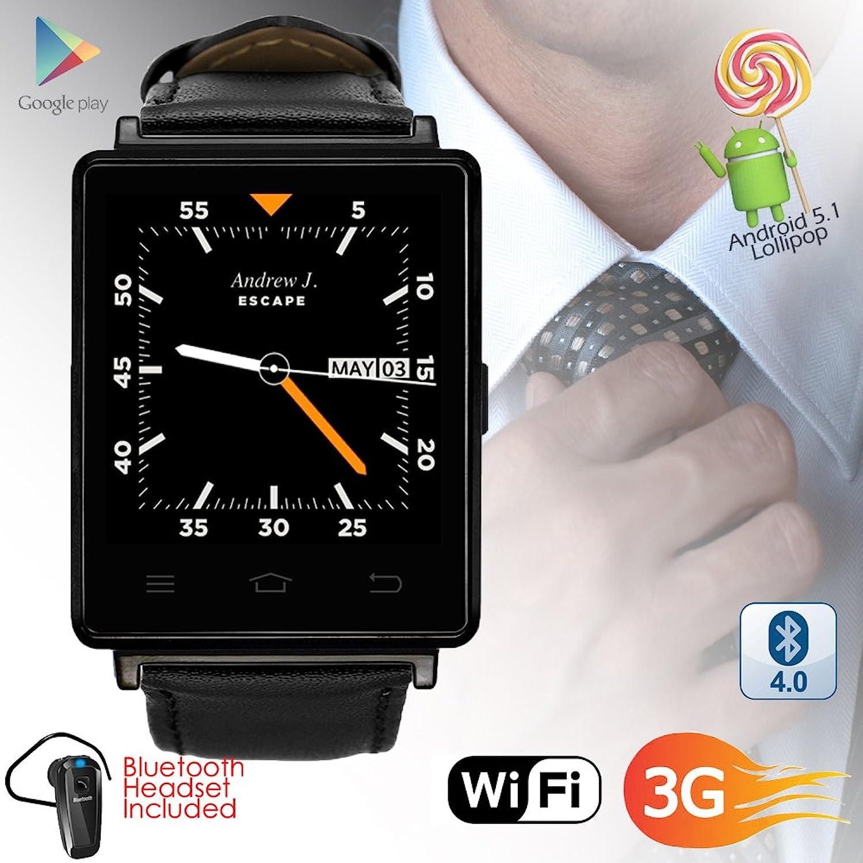 Indigi 3G GSM entsperrt Smart Watch & Telefon Android 5.1OS WiFi + GPS (Karten) + Google Play + Herzfrequenz + Blautooth Bundle