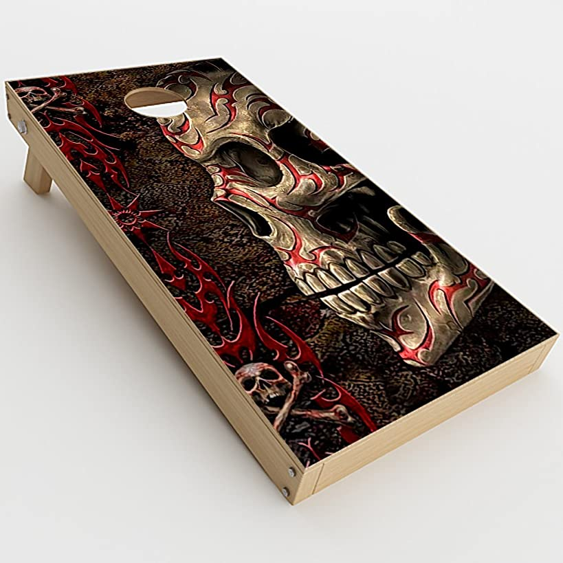 Skin Decal Vinyl Wrap for Cornhole Game Board Bag Toss (2xpcs.) Skins Stickers Cover / Wicked Evil Tribal Skull Tattoo