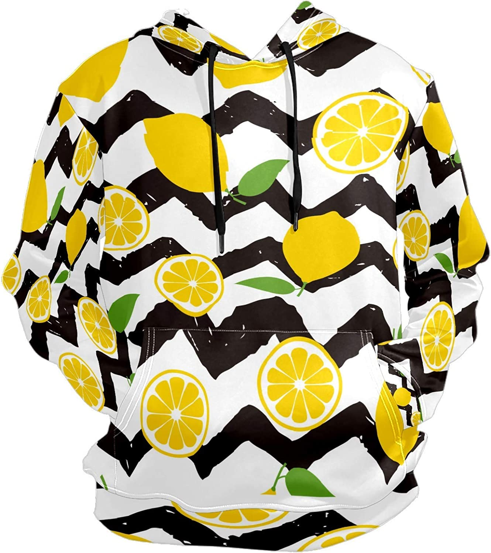 Men's Sport Hoodie Lemon Fruit Black And White Stripes Big and Tall Hoodies for Men Women Oversized Hooded Sweatshirt Hip Hop Pullover Hoodie Midweight Hood for Boys Girls