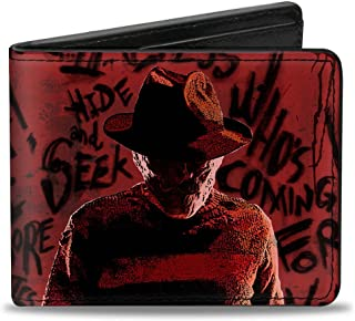 Men's Wallet Freddy Pose2 + Hand Scratching/quote Scrawls Reds/bla Accessory, -Multi, One Size