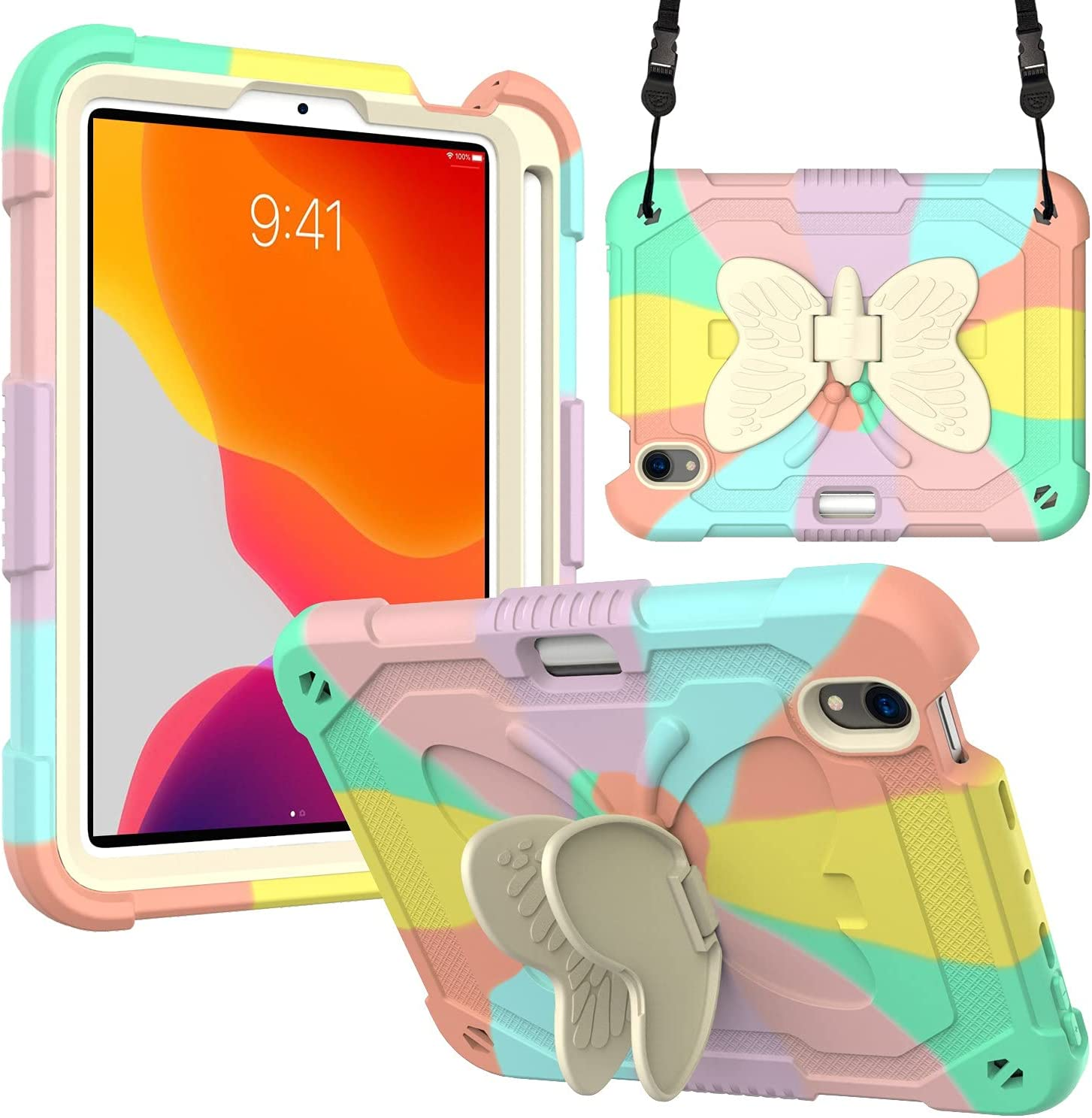 Compatible with iPad Mini 6 Case 8.3 inch 2021,iPad Mini 6th Generation Case for Kids Boy Girl Gift, Cute Butterfly Wings Kickstand Shockproof Silicone Cover for iPad Mini 6 8.3