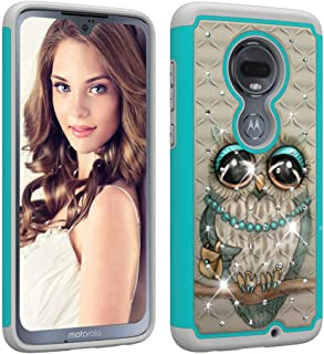 Aiyze for Motorola Moto G7 Play Case [Heavy Duty] Tough Dual Layer 2 in 1 Rugged Rubber Hybrid Hard Plastic Soft TPU Impact Back Protective Cover Coloured Drawing with Bling Diamond - Grey Cat