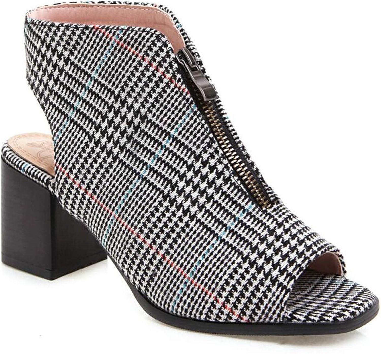 HANBINGPO shoes Women High Heels Open Toe Sandals Gladiator Vintage Block Heel Platform Zipper Pumps