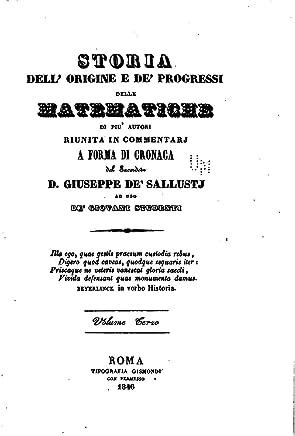 Storia Dell Origine E De Progressi Delle Matematiche di Piu Autori