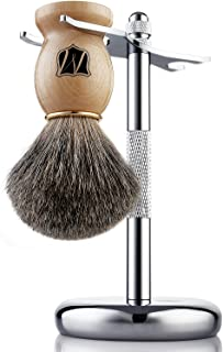 Miusco Natural Badger Hair Wet Shaving Brush and Stand Set, Chrome, Silver, Compatible with Safety Razor and Gillette Razor