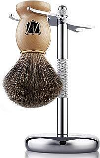 Miusco Badger Hair Shaving Brush and Shaving Stand Set, Chrome Stand, Wooden Brush