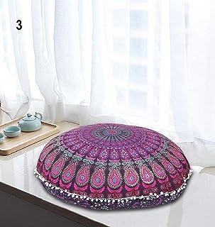 InicioDecorBoutique Funda de cojín redondo con cremallera para poner en el suelo, diseño con un gran mandala hippie, indio, bohemio, para decoración de yoga, 81,28cm, multicolor