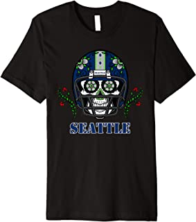 Seattle Football Helmet Sugar Skull Day Of The Dead Premium T-Shirt