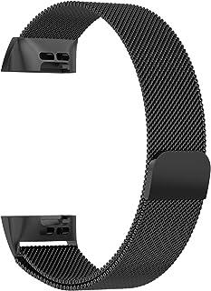 PINHEN Fitbit charge3 バンド ミラネーゼループ ステンレス鋼 ストライプ スマートウォッチ ブレスレット 交換ベルト (Lサイズ, 黒)