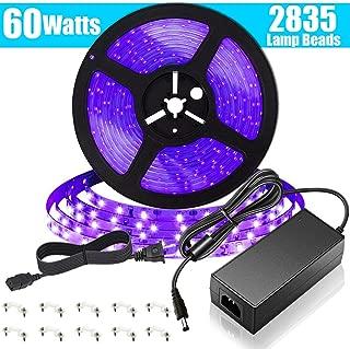 SUNVIE LED UV Black Light Strip, 60 Watts 16.4Ft/5M 2835 SMD 300LEDs Flexible Waterproof IP65 LED Light Strip with DC 24V 3A Power Supply
