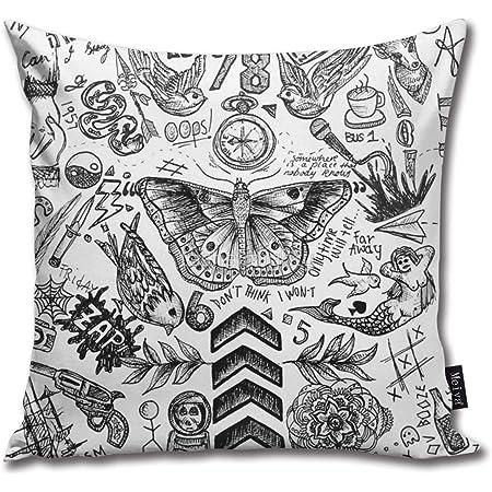 Rasyko One Direction TattoosThrow Funda de cojín para regalo, sofá, cama, coche, sofá, tamaño: 18 x 18 pulgadas