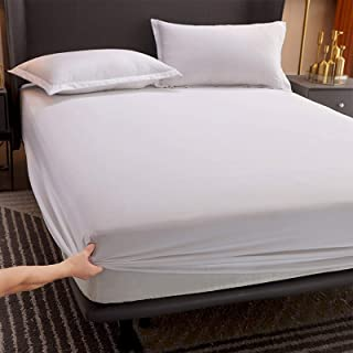 Premium Quality Plain Fitted Sheet, Soft & Cosy Fleece Bed Linen, Kingsize Bedsheet,90cmx200cm+10cm