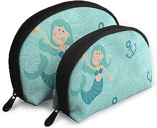 Makeup Bag Sea Wave Mermaid Portable Shell Toiletry Bags Storage For Women