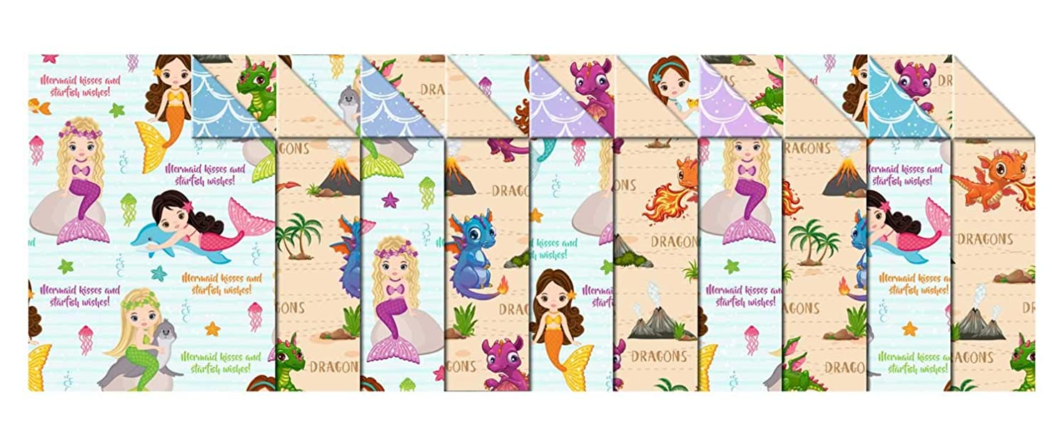 Ursus Kids 11472299 Photo Card 10 Sheets Card 300 g/m2 Approx. 49.5 x 68 cm, Assorted in 2, Fresh Cellulose, Printed on Both Sides, Front with Dragon or Mermaid Motif, Colourful