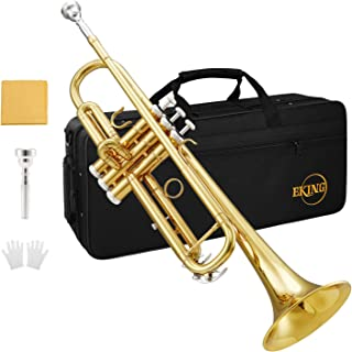 Eking KTR-400 Standard Student Trumpet Trumpet Trumpet Gold Bb Trumpet for student Beginner with Hard Case، Gloves، Cloth، 7C Mouthpiece، and Valve Oil