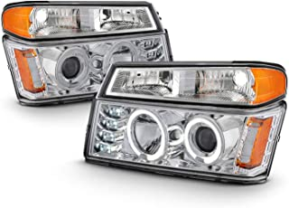 Fits 2004-2012 Chevy Colorado GMC Canyon LED Dual Halo Projector Chrome Headlights+ Bumper Parking Signal Lamps Pair L+R