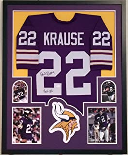 Paul Krause Signed Custom Framed Minnesota Vikings Jersey HOF 98 - JSA Certified