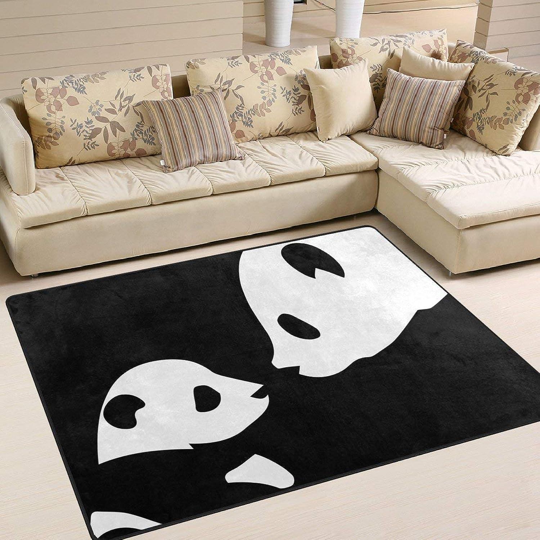 Cute Panda Black for Floor Mat Rug Indoor Front Door Kitchen and Living Room Bedroom Mats Rubber Non Slip