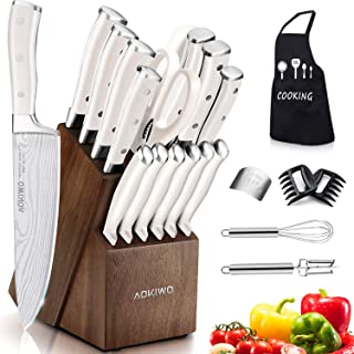 Knife Set, 22 Pieces Kitchen Knife Set with Block Wooden, Germany High Carbon Stainless Steel Professional Chef Knife Block Set, Ultra Sharp, Forged, Full-Tang, White