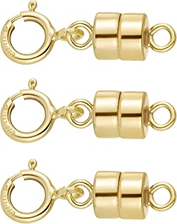 14K Gold Filled Magnetic Clasp for Jewelry and Necklaces | 4.5 mm | Made in USA [3 Pack]