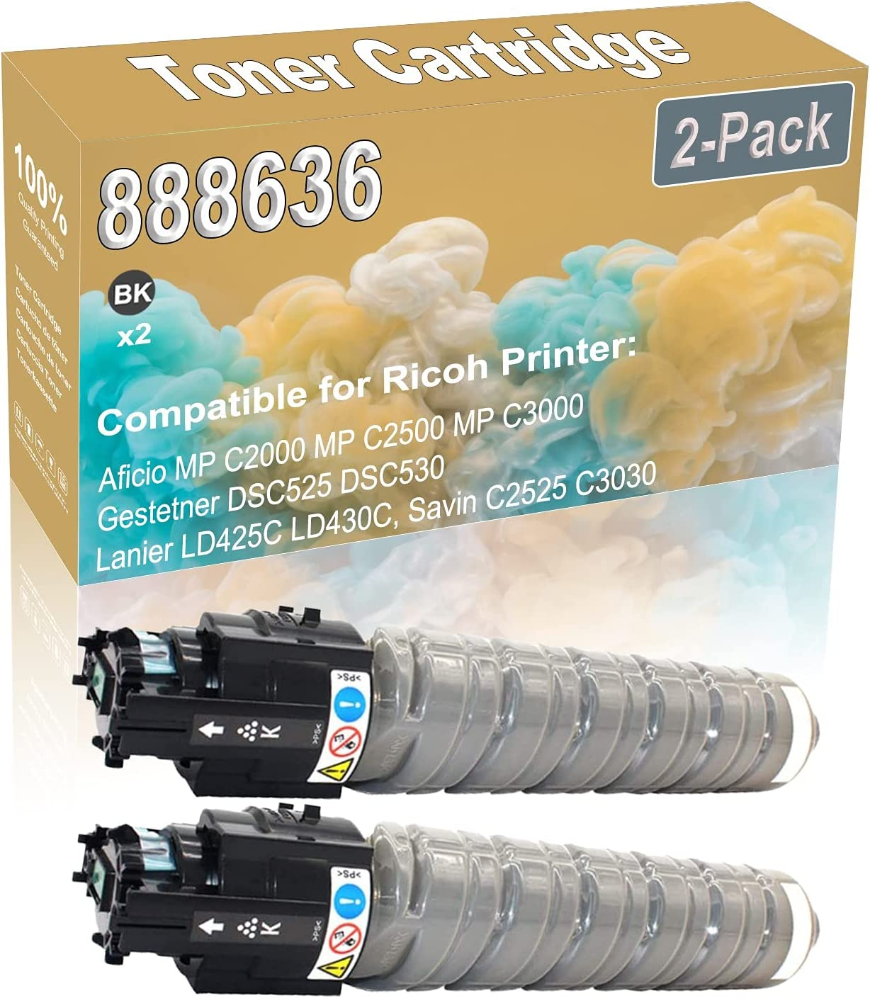 2-Pack (Black) Compatible Aficio MP C2000 MP C2500 MP C3000 Laser Printer Toner Cartridge (High Capacity) Replacement for Ricoh 888636 Printer Toner Cartridge