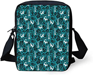 Messenger Bag,Unisex,Abstract Cat and Bunnies with Black Swirls Curves and Dots Pattern.9x8x2inches