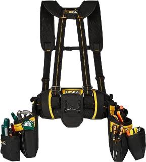 حقيبة أدوات كهربائية HISEA ، أحزمة أدوات نجار للرجال، حمالات حزام الأدوات مع 31 جيبًا