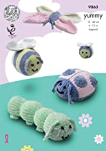 King Cole Yummy Bugs Knitting Pattern - Caterpillar Bumble Bees Ladybird & Butterfly (9060)