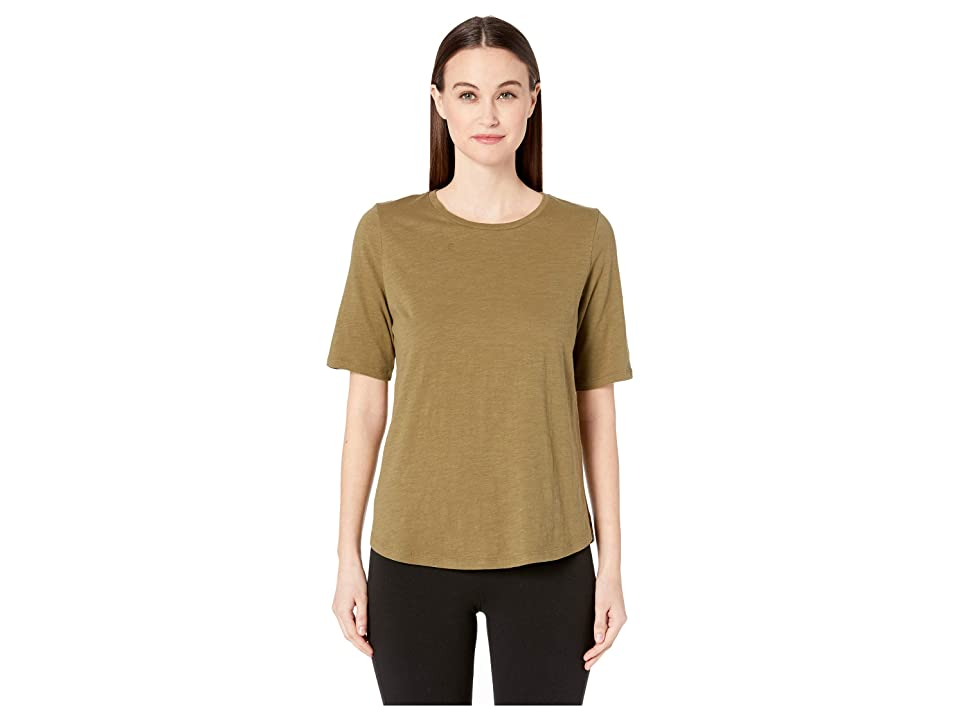 Eileen Fisher Organic Cotton Slub Round Neck Elbow Sleeve Top (Olive) Women