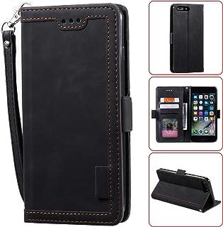 EnjoyCase Card Slots Wallet Case for iPhone 7 Plus/8 Plus,Magnetic Handbag Pocket PU Leather Flip Wrist Strap Folio TPU In...