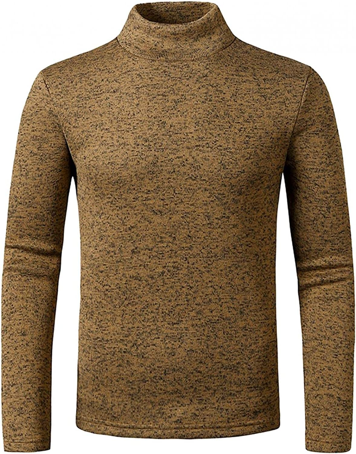 Men's Casual Slim Cotton Polyester Basic Knitted Warm Half High Neck Pullover Sweater Tops Blouse