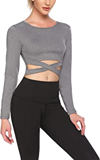 COOrun Workout Tops for Women Long Sleeve Yoga Shirt Seamless Athletic Crop Top