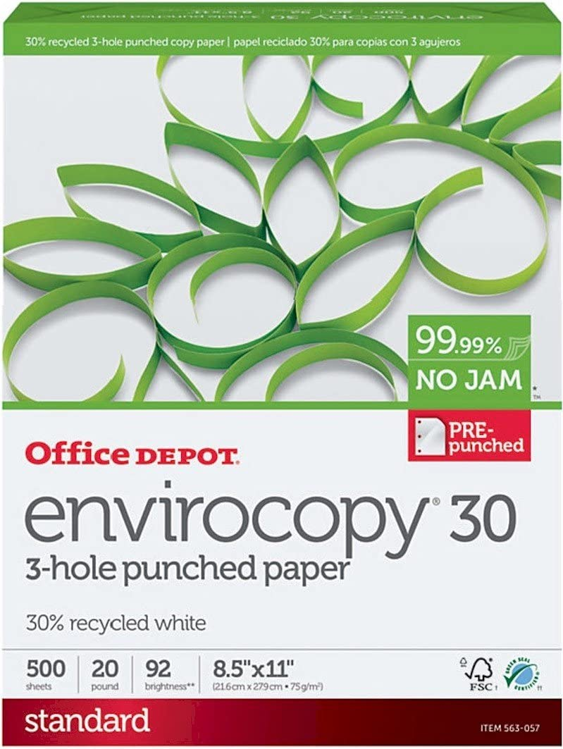 Office Depot EnviroCopy Max 89% OFF 3-Hole Punched Printer 2021new shipping free Inkjet Laser Copy