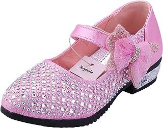 2a09ed93fe4f6 Snyemio Chaussures Princesse Fille Mary Jane Ballerine Enfant pour  Ceremonie Mariage Fête