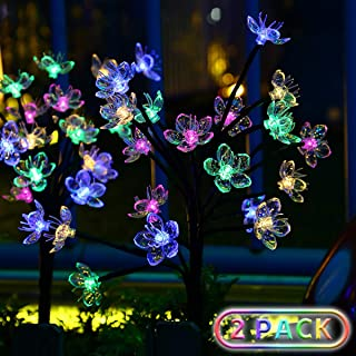 Solar Garden Lights Upgraded Outdoor Yard Decorations - Color Changing Bigger Artificial Flower Decorative , IPX7 Waterproof Wider Solar Panel Quality for Patio Yard Party Wedding Decoration,2 Pack