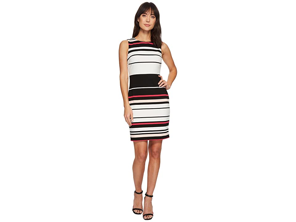 Calvin Klein Sleeveless Ottoman Dress (Black/Soft White/Watermelon) Women