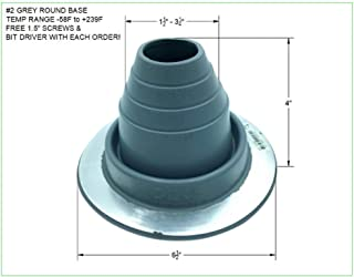 EAGLE 1 EPDM Flexible Roofing Pipe Flashing Boots - On Site Adjustable Roof Pipe Jack Boot with Round Base (Standard Gray, 2)