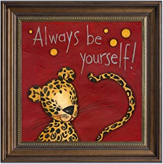 Quedom Framed Canvas Print Wall Art for Kids Room, with Brown Frame Vintage Style Decorative Artwork Animal Painting, 16x16 inch, Ready to Hang (the Cheetah, Always be yourself)