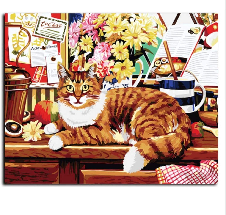 CZYYOU DIY Malen Malen Malen Nach Zahlen Auf Leinwand Design Wandaufkleber Handarbeit Öl Gemalt Katze Tiger 40x50cm-Rahmenlos B07P8FR3SR | Genial  4086f5