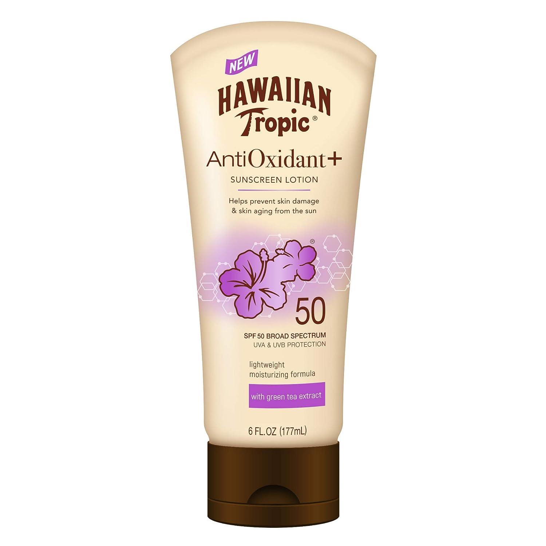 Hawaiian Tropic AntiOxidant+ Sunscreen Lotion, Lightweight Sun Protection, Broad Spectrum, SPF 50
