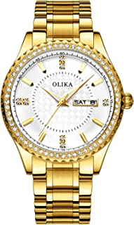RORIOS Men Watch Analog Quartz Watches Luminous Men's Wristwatches Simulated Diamond Dial with Date Stainless Steel Band Fashion Men Wrist Watch