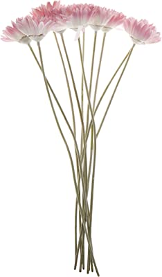 Fourwalls Artificial Synthetic Single Garbara Flower Stick (55 cm Tall, Set of 12, Pink)