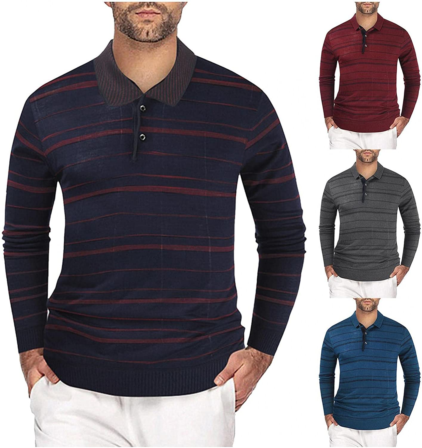 Men's Sweaters Pullovers Men's Button Lapel Sweater Warm Pullover Striped Casual Slim Long Sleeve Knitted Sweater